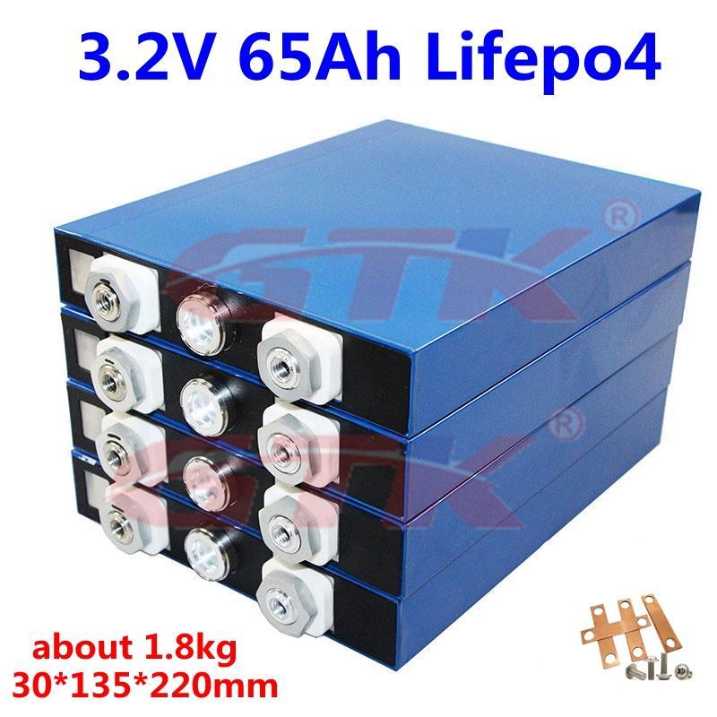 Nuovo LiFePo4 3.2V batteria al litio 65Ah 65Ah cellule LFP litio ferro per diy 48v 24v 12v solare accumulo di energia pannello