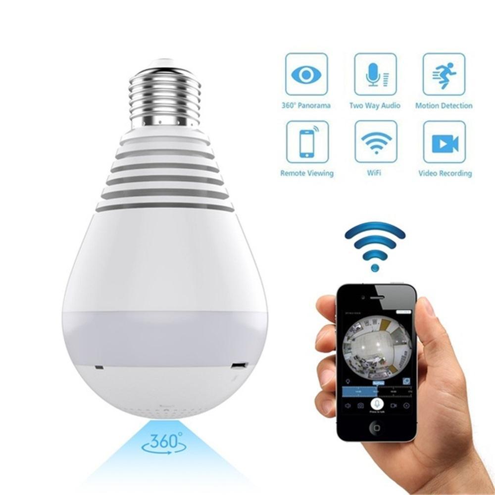 1080P HD WiFi IP Camera 360° Panoramic Fisheye Bulb Light Home Security Camera Bulbs Lamp Night Vision Baby Monitor