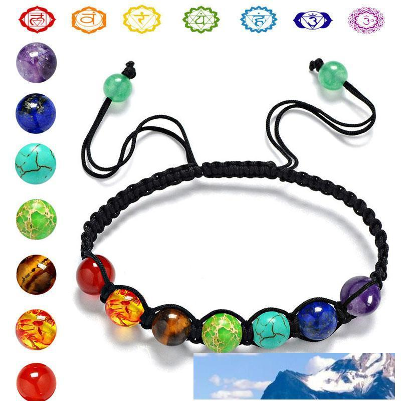 8 millimetri Yoga 7 Chakra Bracciale Reiki pietra naturale Bracciale Perle del polsino Buddha Balance hip hop nave gioielli goccia