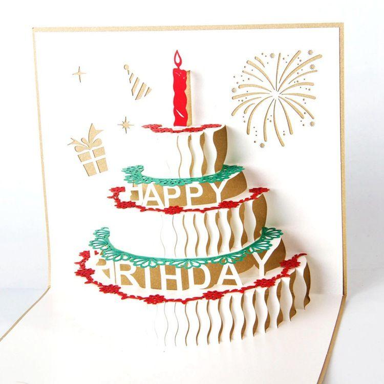 оптовый торт ко дню рождения Поздравительная открытка 3D Handmade Xmas Gift Stationery карты Урожай ретро пирсинг пост поздравительных открыток