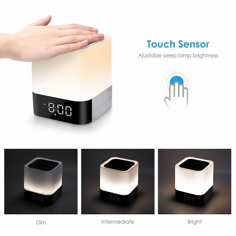 Touch-Sensor-Nachtlampe / MP3-Player Wecker LED-Wecker mit Nachtlicht Bluetooth-Lautsprechern, alle in 1 O9uR #