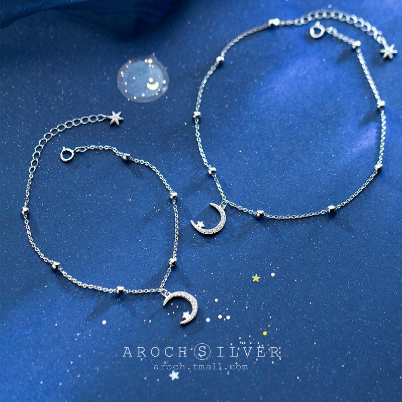 pantaloni a vita bassa stile coreano delle donne S925 Crescent Moon braccialetto carino dolce gioielli luna curvo braccialetto della perla Pearl S2896