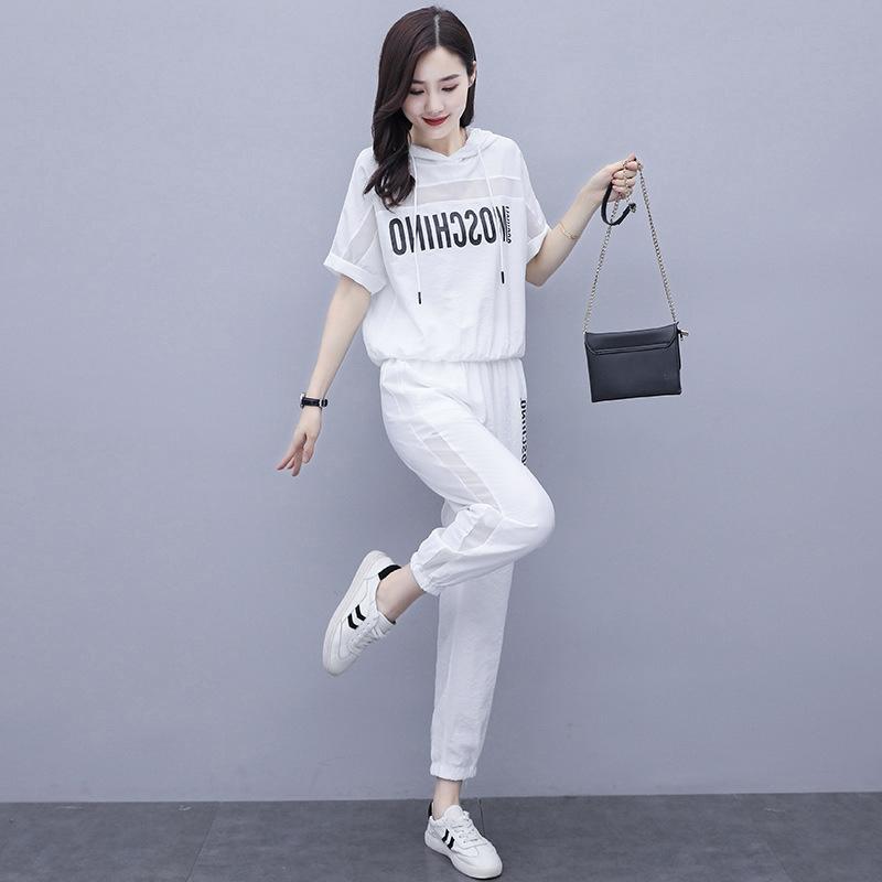 yB0Vn Trendy Marke Art und Weise beschriftet feste Hosen enge Hosen lässig Sportanzug Frauen Sommer 2020 neue koreanische Art-lose Allgleiches Gamaschen