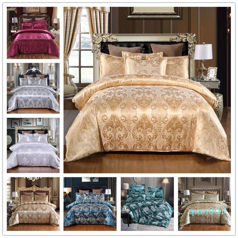 Raso jacquard Bedding Set di lusso solido Stile Europeo 3 Pezzi Duvet Federe di copertura per letto queen King Size 80172