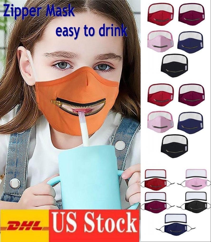 Trinken kreativer Abdeckung Reißverschluss Drinkgesicht zu waschbar wiederverwendbaren Schutzstrohmasken Easy Beliebte Kinder FY9171 Mundgesicht DHL Maske Schiff Fjam