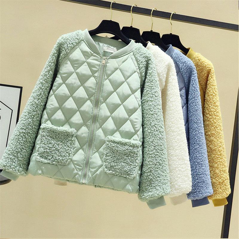 kadın pamuk dolgulu ceketler 3293 dış giyim Kısa pamuk ceket kadınlar sonbahar kış Lambswool ekleme parka beden gevşek sıcak