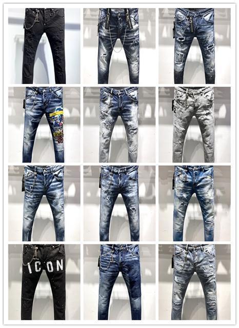 2019 Nuevo diseño de lujo de calidad superior de los hombres Denim Jeans Moda agujeros a pantalones vaqueros del motorista Rock Revival Jeans Italia Tamaño 44-54