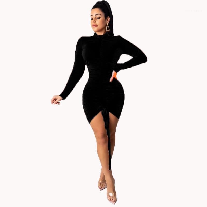 Zurück Schnür Lang Sleeved mit Rundhalsausschnitt, figurbetontes Kleid Damenmode Kleider Frauen-Partei-Kleider Normallack Herbst reizvolle dünne öffnen
