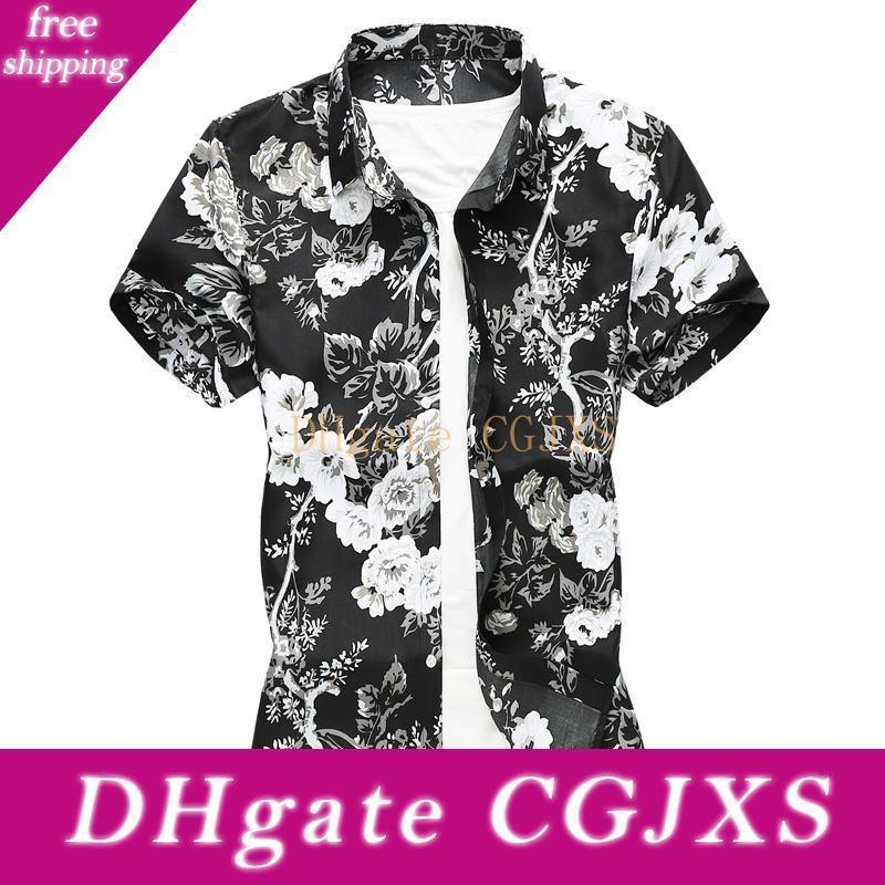 Plus Size 6XL 7XL 2019 Homens de Verão Camisas Slim Fit Vire Collar -Down Padrão Floral Curto -Sleeved Flores Camisetas masculinas '; S Vestido