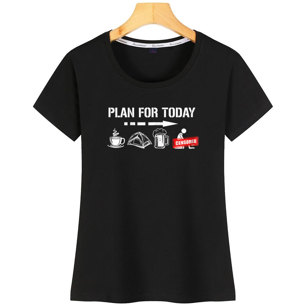 Camping femmes T-shirt Coton caractère SizeFashion Fitness
