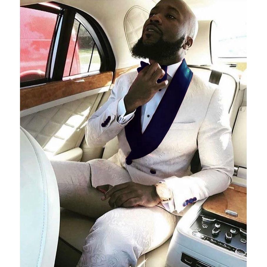Новый модный Groom Tuxedos Groomsmen One Button Ivory Paisley шаль лацкане шафером костюм Свадьба Мужские Blazer костюмы (куртка + брюки + галстук
