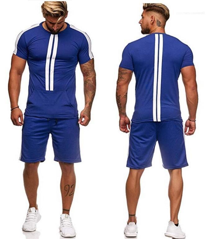 Gevşek Kısa Sleeve Mürettebat Boyun Moda Erkek eşofman Çizgili Erkek Tasarımcı eşofman Casual İki Adet Tops Şort Spor