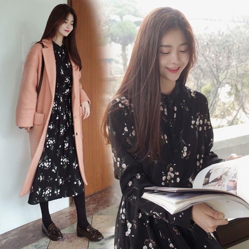 QzVfF Floral vestido de saia nova primavera grande tamanho do vestido chiffon das mulheres e no Outono saia 2,020 base de estilo coreano de manga comprida de comprimento médio AYuyB