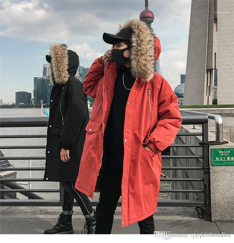مصمم جاكيتات موضة القبعة انفصال فضفاض سترة واقية معاطف الكورية أسلوب رجل سميك الدافئة تكاليف شتاء جديد رجالي