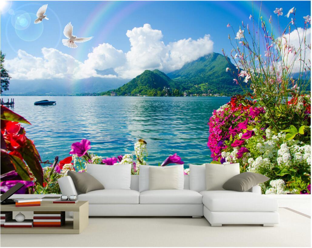 3d комната обои на заказ фото настенных Цветов вида на море радуги домашнего декор живописи картина 3d стена фреска обои для стен 3 д