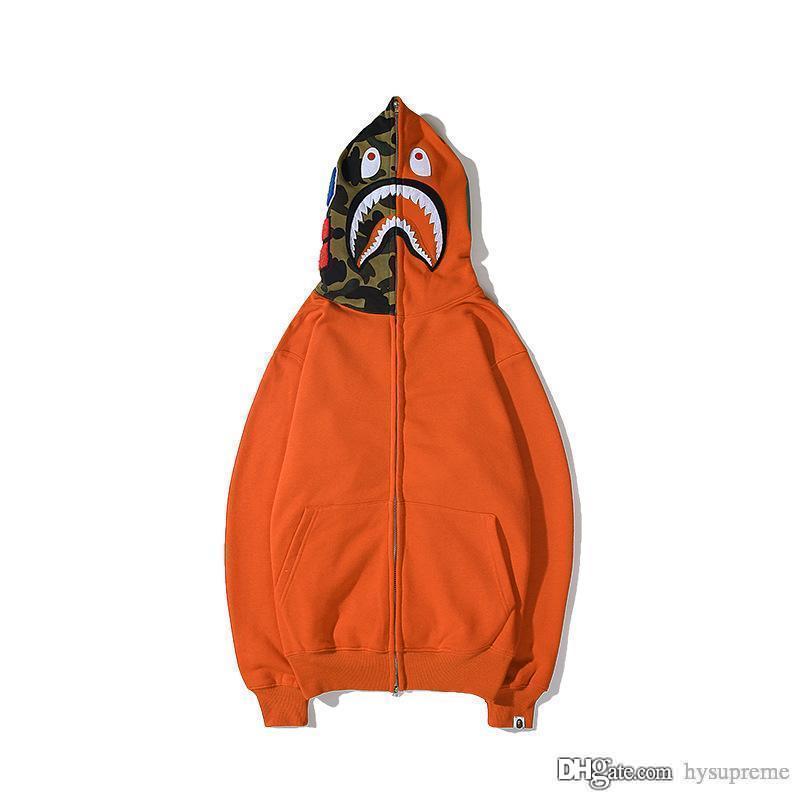 Wholesale neue Ankunfts-Mann-Frauen-Schwarz-Orange Rot Camo Zipper Strickjacke Pullover Pullover Teenager Sport Hip Hop-Sweatshirts Jacke