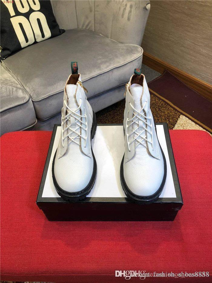 Herbst Winter neueste Lederstiefel für Männer Schwarze und weiße Leder Schnür-Stiefeletten mit dicker Sohle und niedrigem Absatz Martin Stiefel
