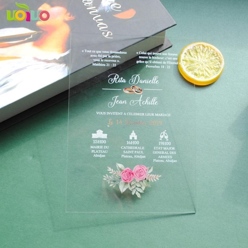 Transparente Kristallacryl Einladungen Wedding Supplies-Tabellen-Karten Geschäft