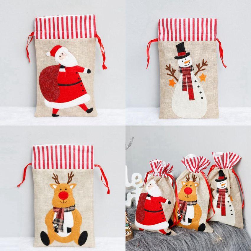 Christmas Gift Bags 19*30cm Linen Bag Santa Sack Drawstring Bag Elk Santa Claus Kids Candy Bags Christmas Decorations CYZ2823 200Pcs