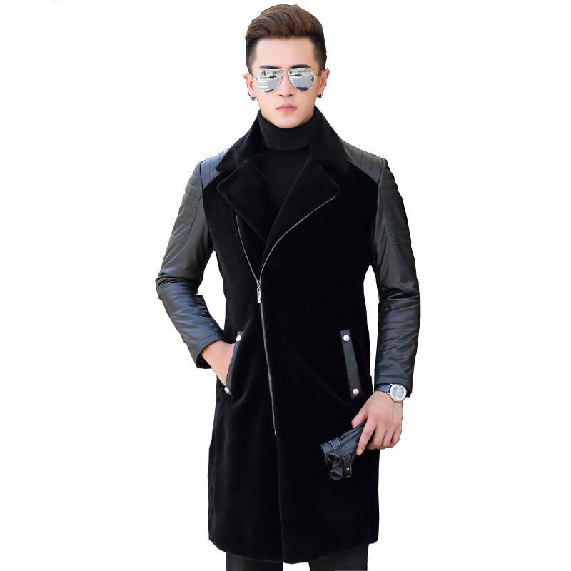 Sheep Shearling Fur Coat Genuine Leather Jacket Men Winter Warm Slim Coat Fashion Wool Jackets Overcoat 16019 ZL378