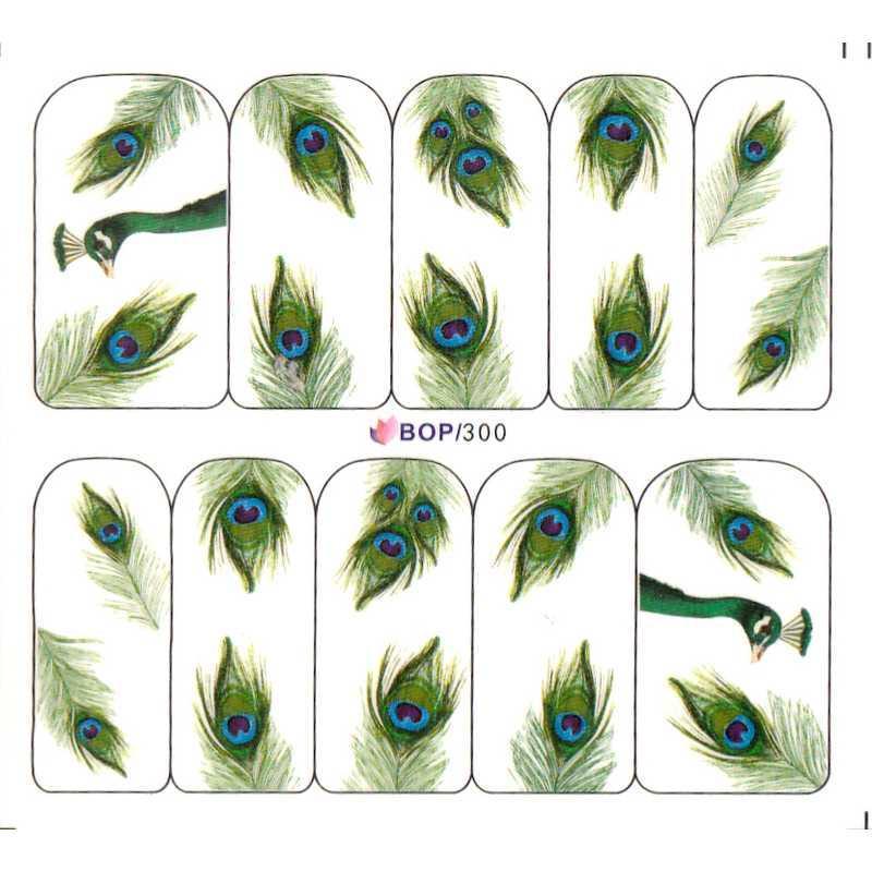 UPRETTEGO NAIL ART AGUA DECAL RESBALADOR etiqueta engomada del clavo PEACOCK Mariposa de plumas PLUME BOP300-302