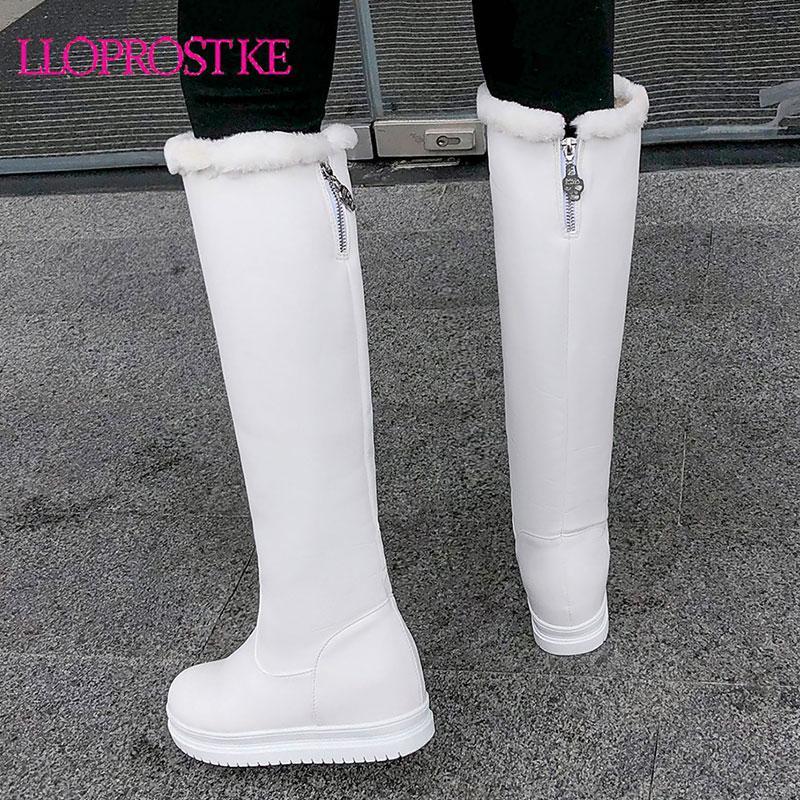 Lloprost ke großer Größe 34-43 fahsion kniehohe Stiefel runde Zeheplattform Damen Winterstiefel warm halten Damen Neuschnee 2020
