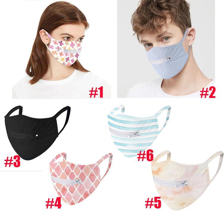 6 стиля молнии маска черной синей печати маска тонких быстросохнущая сетка ткань маска для лица дышащего анти пыль Модельер маски OWE999