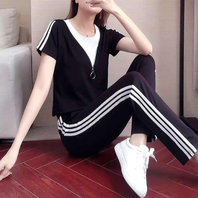 69obD 5OlPo sport casuale del vestito sport casuali delle donne di estate brevi 2020 nuova moda dimagrante dimagrante stile coreano allentato due pezzi manica runn