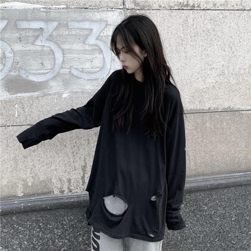 mYdQ5 2020 otoño Nueva Corea del estilo de las celebridades de Internet manga larga blanca floja de las mujeres T- súper popular Top T- ins top de la camisa de base camisa CEC F