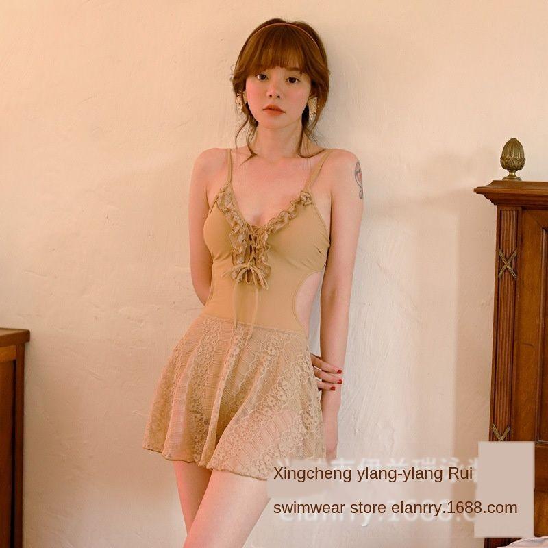 ins coreano stile unico pezzo gonna in stile fan fata sorgente calda pancia delle donne del costume da bagno che copre dimagrante conservatore Backless sexy costume da bagno SWI