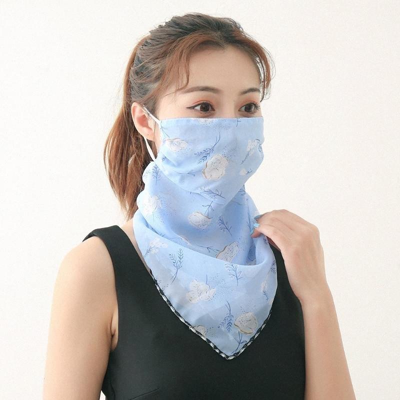 Cara cubierta de ciclo de ciclo de la cara de la bufanda de las mujeres al aire libre de la gasa de anti-UV diaria a prueba de viento del pañuelo de Protección Solar bufanda de cuello 9Xmo #
