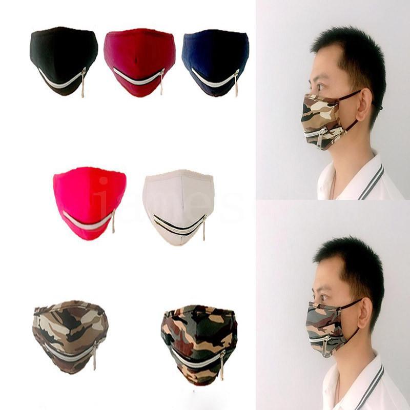 Zipper Máscara 7 estilos camuflagem rosto Straw Máscara de Abertura Anti poeira Máscaras Designer Máscaras exterior Windproof Ciclismo DHC1008