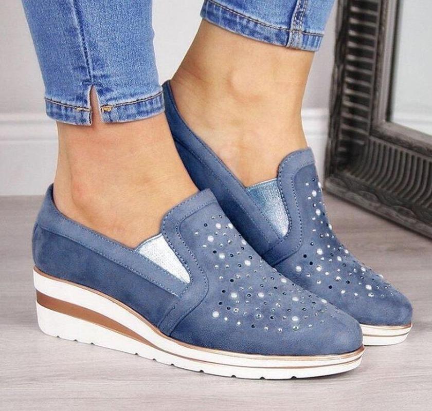 2020 أحذية الخريف المرأة شقق أنثى الجوف تنفس شبكة أحذية عارضة للسيدات الانزلاق على الشقق متعطل ربط الحذاء حتى شاطئ