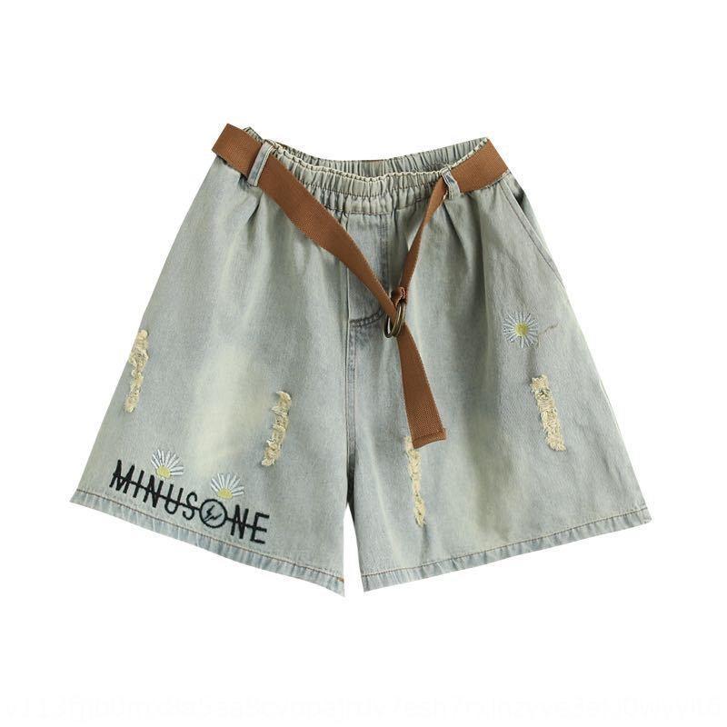 h96m0 taille haute déchiré recadrée et pantalons de femmes d'été short brodé 2020 Nouvelle grande taille denim loose brodé shorts courts Daisy s