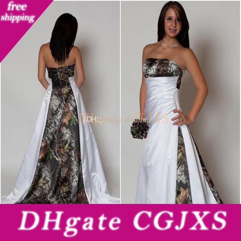 New Design Vestido de casamento de Camo 2020 Strapless plissados A Linha de Trem da varredura Cetim Country Beach vestidos de noiva Plus Size baratos Custom Made