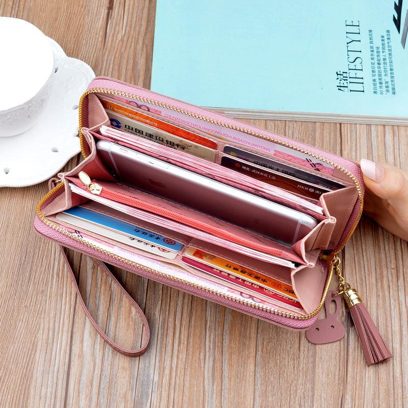 بو الجلود المرأة محفظة سيدة منذ فترة طويلة محافظ اللون المال المحافظ أنثى عملة المحفظة بطاقة حامل المحفظة جلدية عارضة