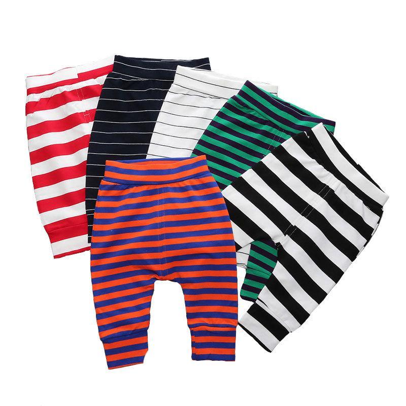Elastik Bel Bebek Pantolon Pamuk Erkek Bebek Giyim Çizgili Gevşek Yenidoğan Kız Pantolon Yaz Bebek Kız Tozluklar 6-24 Ay MX200811
