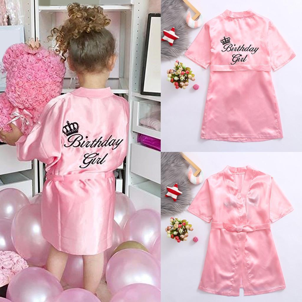 Bebê Kid criança Sólidos cetim de seda quimono Robes de Banho Pijamas para o aniversário de casamento Spa Partido 2019 #SS T200901