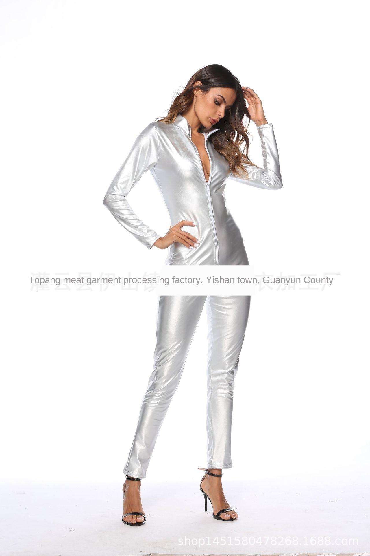 DPxCU C7I94 üniforma Performans günaha Gece kulübü sıkı tek parça korse yaldız imitasyon İç ceket deri ceket Pu deri boya cl