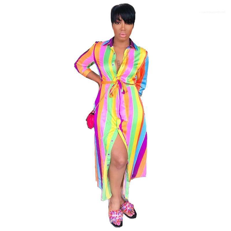Gömlek Elbise Gevşek Yaka Boyun Kadınlar dizayn edilmiş elbiseler Moda Uzun Kollu Günlük Elbise Bandaj Gökkuşağı Çizgili Kadınlar