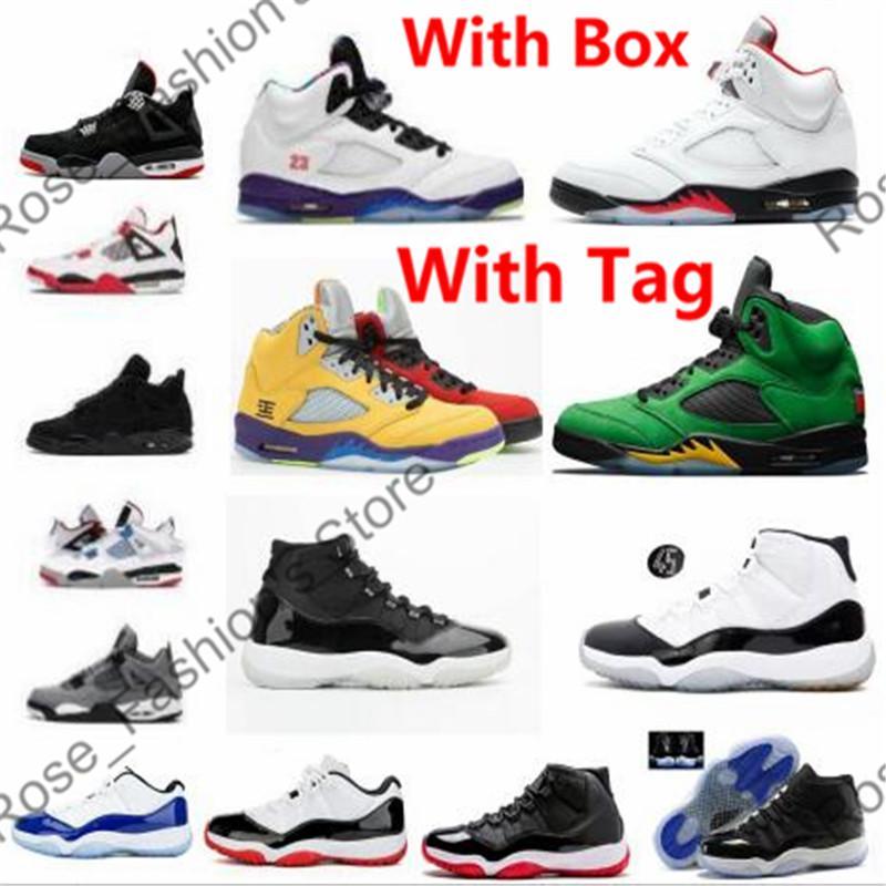 5 Yangın Kırmızı 5s Oregon Ördekler Erkek Basketbol Ayakkabıları 4s Bred Soluk Citron Kaktüs Jack 11s 25th Yıldönümü Düşük Beyaz Sneakers