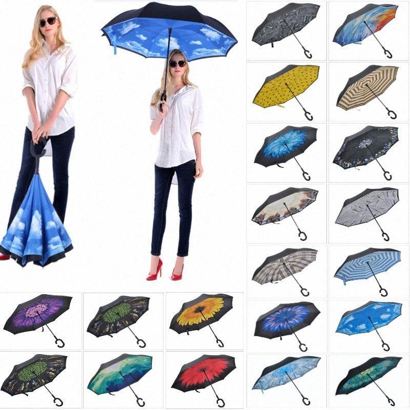 C manico pieghevole Reverse Umbrella doppio strato Ombrelli invertito manico lungo antivento pioggia dell'automobile Ombrelli HH7-1950 TynZ #
