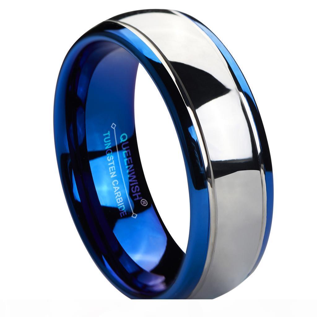 8 mm en carbure de tungstène anneau bleu Bandes de mariage d'argent Dôme Anneaux Couple pour Lovers Bijoux Fashion
