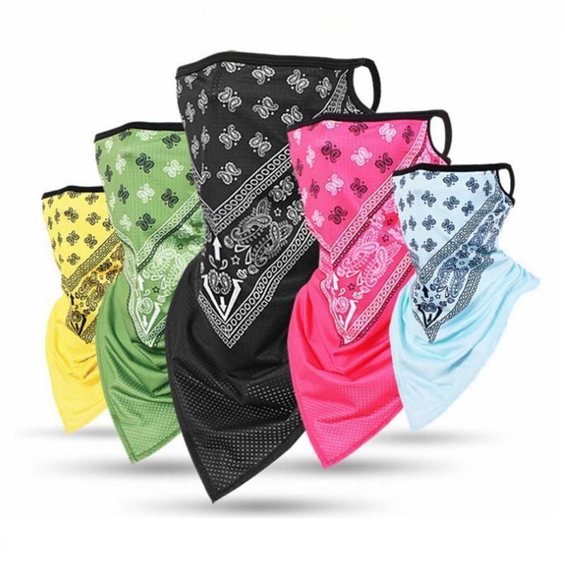 Unisex Seta Ice Sport Bandana Triangolo Viso Ciondolo Maschera tubo della sciarpa del collo Leggings copertura Pesca fascia escursionismo accessori