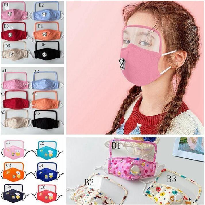 Kind im Freien Atemschutzmaske Designer mit Augen Schild Kind Waschbar Wiederverwendbare Gesicht Eye Face Shield Mundschutz-Masken DWC360