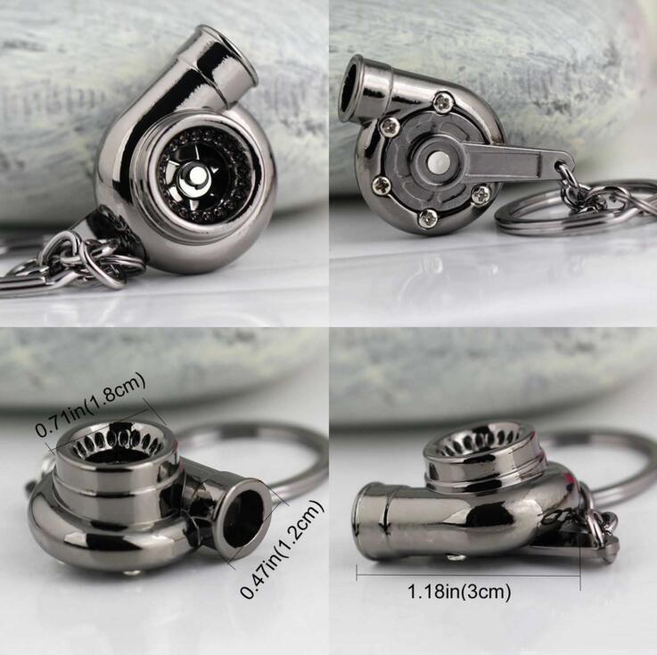 Car Favorite 13 Spinning Turbocharger Keychain Turbo Creative Keychains Turbine Sleeve Keyfob Parts Fans Bearing Key Keyring Ring Chain ACz