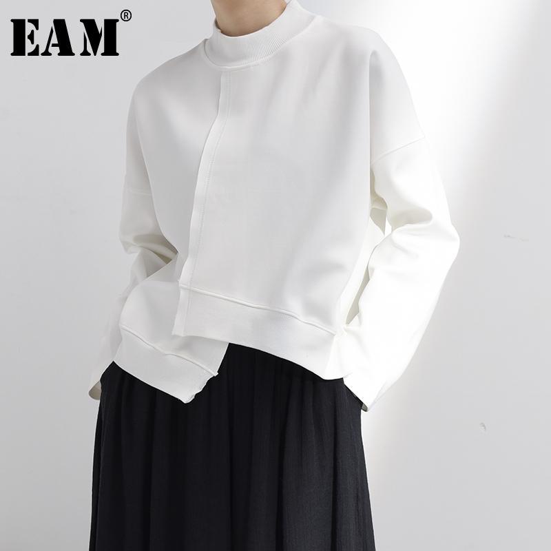 [EAM] Сыпучие Fit белый Нерегулярные Хем Weatshirt Новый Satnd воротник с длинным рукавом Женщины Большой размер Мода Tide весна 2020 JK800
