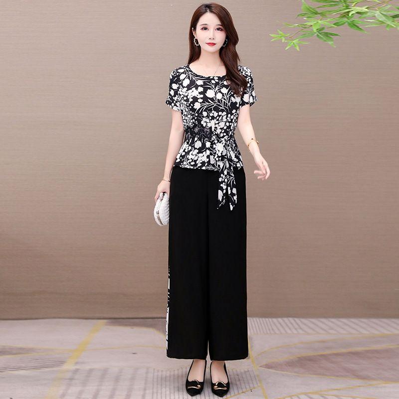 YDC1H HyOBt de duas peças casuais terno Impresso verão 2020 novos slim-fit forma de mangas curtas-reduzindo em geral - terno da moda casual calças femininas