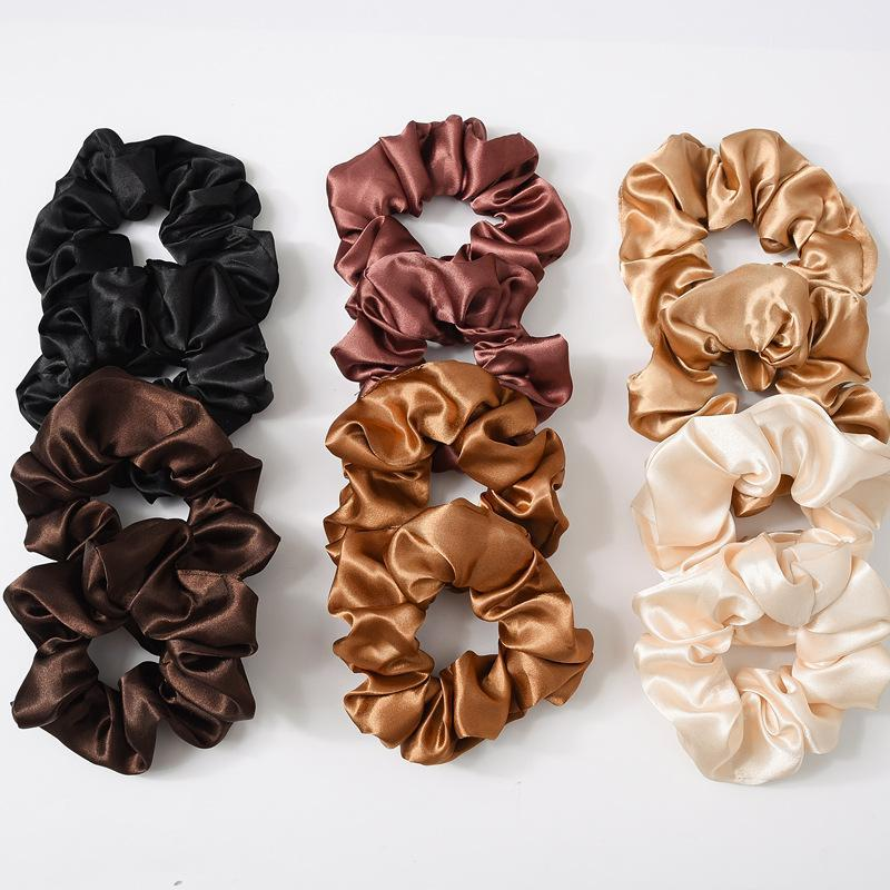 Scrunchies Haarbänder Solide Satin Hair Bands Dickdarm Haar-Riegel Seile Mädchen Pferdeschwanz-Halter-Haar-Zusätze 6 Farben