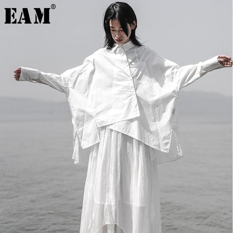Kadın Bluz Gömlek [EAM] 2021 Sonbahar Kış Yaka Uzun Kollu Beyaz Gevşek Boy Düzensiz Gömlek Kadın Bluz Moda Gelgit JS921